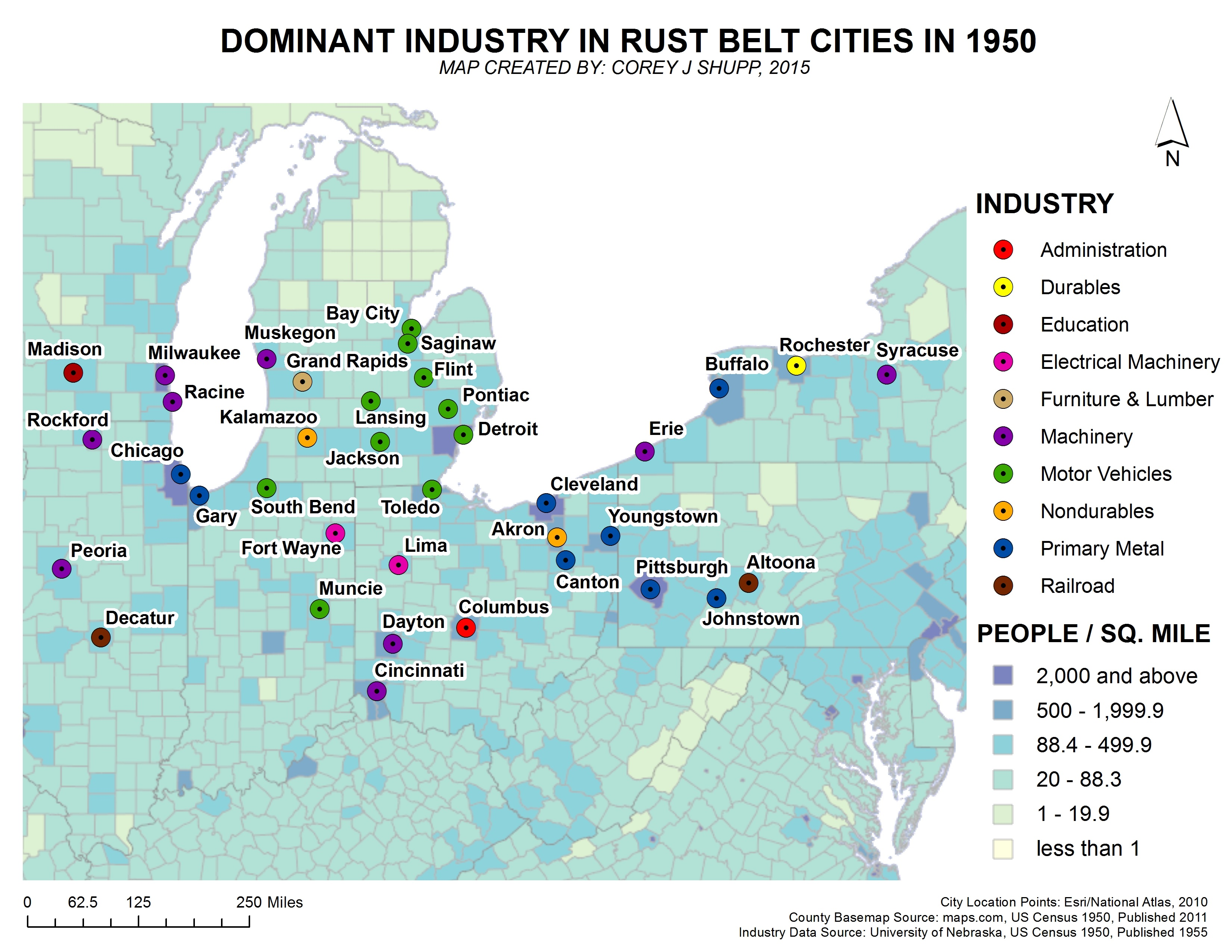 March 2016, Dominant Industries In Rust Belt Cities In 1950\