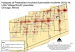Hotspots of pedestrian-involved automobile incidents 2010-14 in Little Village Chicago by Haley Cannon, Ralph Lara, and Caleb Miller