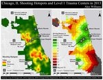 November 2014: Shooting Hotspots and Relative Distances to Level 1 Trauma Centers in Chicago