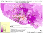 February 2018: Percent Population Hispanic or Latino in Relation to Payday Loan Storefronts and Bank Branches